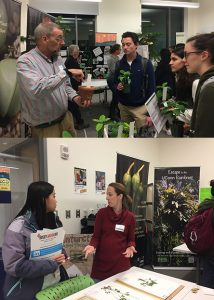 Two photos of collections managers meeting with undergraduates at Research Connections event