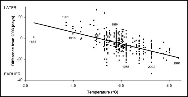 Scatterplot graph showing trend in earlier flowering time as temperature rises