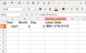 image of excel sheet showing formula to calculate Julian Date